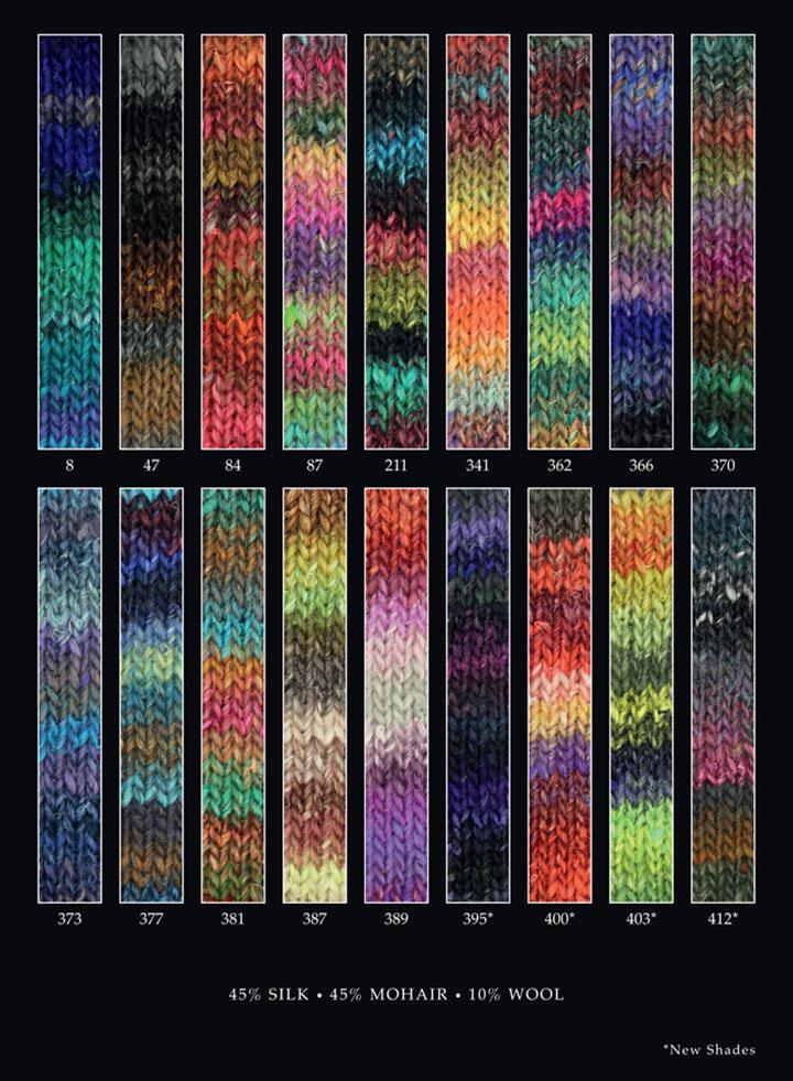 Noro, Silk Garden gibt es insgesamt in 18 verschiedenen Farbvarianten.