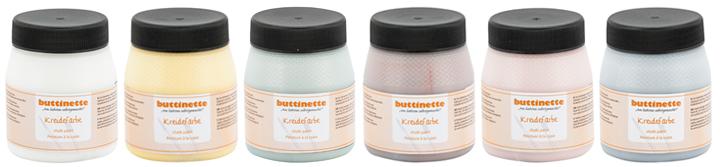 Die Kreidefarben von Buttinette gibt es in schönen Pastellfarben.