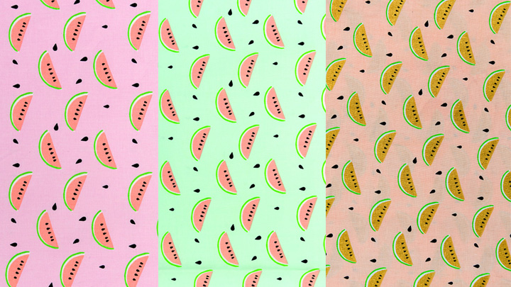 Kombibild Stoffneuheiten Rico Design Stoffe Melone Kollektion Tropical Spring