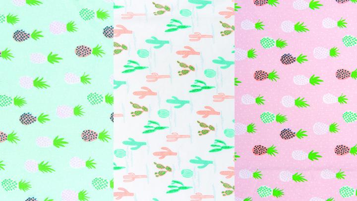 Kombibild Stoffneuheiten Rico Design Stoff Ananas und Kakteen Kollektion Tropical Spring
