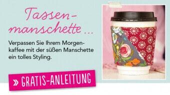Gratis Nähanleitung Tassenmanschette Simply Kreativ Newsletter 1116
