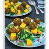 Rezept - Spinatbällchen mit Ingwer und Chili und thailändischem Mangosalat - Healthy Vegan 02/2019