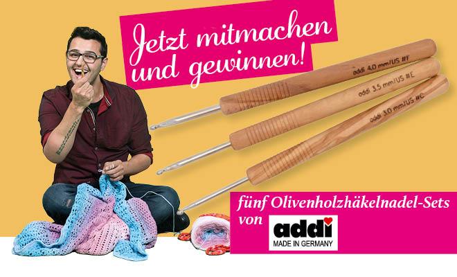 Simply Kreativ Sonderheft Häkeln mit Meti Vol. 1 Gewinnspiel Olivenholzhäkelnadel-Sets