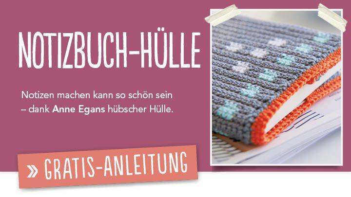Gratis Häkelanleitung - Notizbuch-Hülle