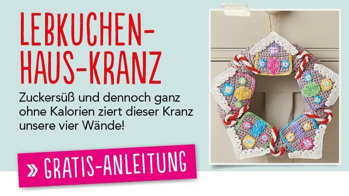 Gratis Häkelanleitung Lebkuchenhaus-Kranz