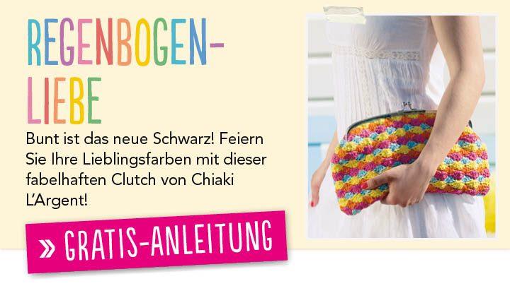 Gratis Häkelanleitung Regenbogen Clutch