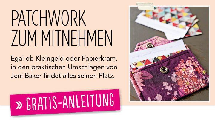 Gratis Nähanleitung Patchwork Umschlag